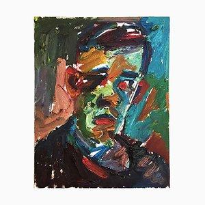 Pintura al óleo de retrato masculino de Adrian Johnson, años 80