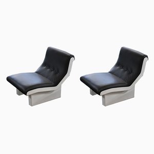 Fiberglass & Leather Lounge Chairs by Marco Zanuso, 1967, Set of 2
