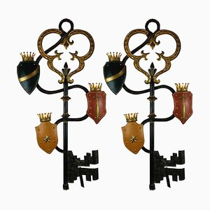 Large Painted Iron Wall Lamps from Palladio, 1970s, Set of 2