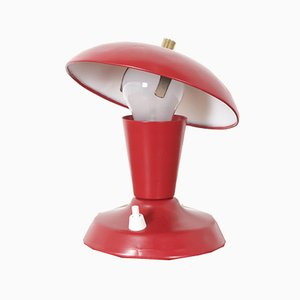 Small Vintage Red Metal Table Lamp, 1960s