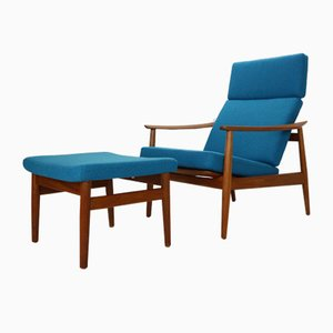 Danish FD-164 Lounge Chair and Ottoman Set by Arne Vodder for France & Søn / France & Daverkosen, 1960s