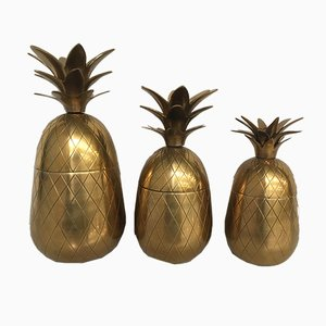 Brass Hollywood Regency Pineapple Ice Buckets, 1980s, Set of 3