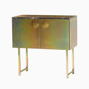 Galvanized Steel & Marble Bump Cabinet by Jan Plechac & Henry Wielgus