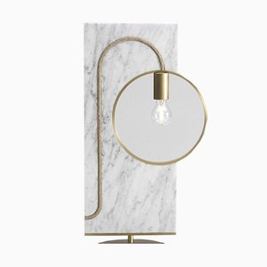 Wood & Brass Loop Table Lamp by Filip Janssens