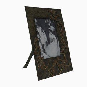 Portarretratos antiguo modernista de latón y cobre