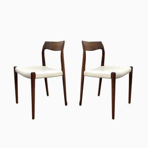 Chaises de Salle à Manger Modèle 77 Blanches par Niels Otto Møller pour J.L. Møllers, 1960s, Set de 2