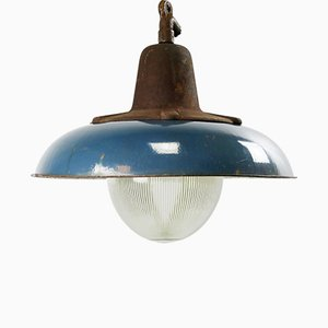 Vintage Industrial Dark Blue Enamel Cast Iron and Holophane Glass Pendant Lamp