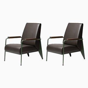 Leather Lounge Chairs by Jean Prouvé, 1950s, Set of 2