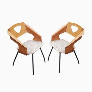 Italian Plywood Dining Chairs by Carlo Ratti for Industrial Legni Curva, 1950s, Set of 2