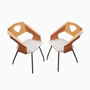 Italienische Esszimmerstühle aus Schichtholz von Carlo Ratti für Industrial Legni Curva, 1950er, 2er Set