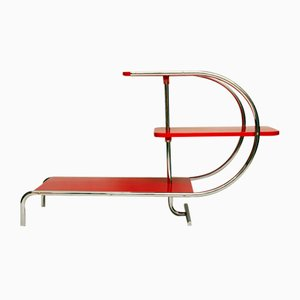 Étagère Bauhaus en Acier Tubulaire Chromé Rouge, 1930s