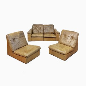 Leather Modular Sofa Lounge Chairs, 1970s, Set of 4