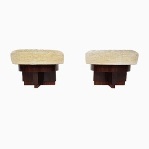 Italian Art Deco Mahogany Stools, 1930s, Set of 2
