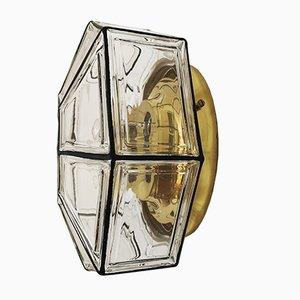 Deutsche Deckenlampe aus Messing & Glas von Limburg, 1960er