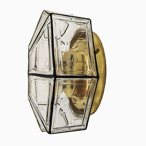 German Brass and Glass Ceiling Lamp from Limburg, 1960s