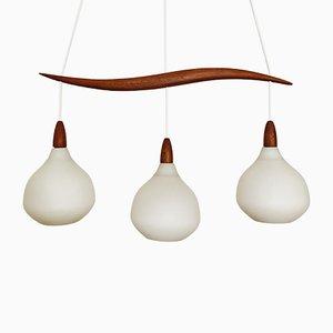 Lampada da soffitto in vetro opalino di Uno & Östen Kristiansson per Luxus, Svezia, anni '60