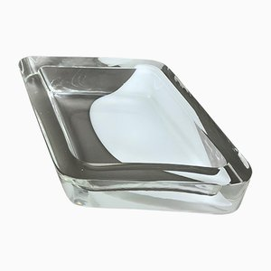 Mid-Century Clear Murano Glass Square Bowl by Antonio da Ros for Cenedese Vetri