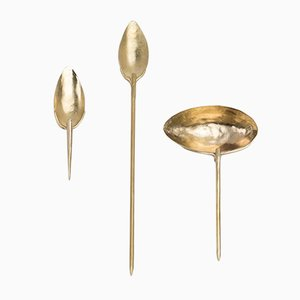 Brass Lígula, Cochler & Trulla Spoon Set by Raquel Vidal and Pedro Paz