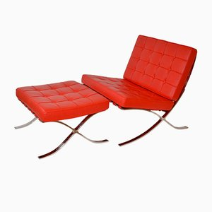 Barcelona Style Red Leather Lounge Chair and Ottoman, 1980s