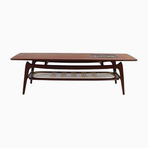 Mid-Century Dutch Teak and Ceramic Coffee Table by Louis van Teeffelen for WéBé