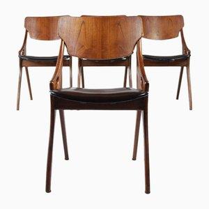 Mid-Century Esszimmerstühle mit Gestell aus Teak & schwarzem Bezug aus Skai von Hovmand Olsen für Mogens Kold, 4er Set