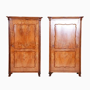 Antique Biedermeier Ash Wardrobes, Set of 2