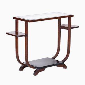 French Art Deco Beechwood & Glass Flower Side Table, 1920s