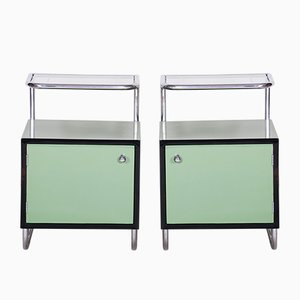 Glass & Chrome Nightstands from Vichr a Spol, 1930s, Set of 2