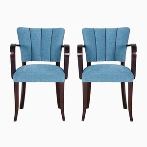 Art Deco Oak Armchairs, 1930s, Set of 2