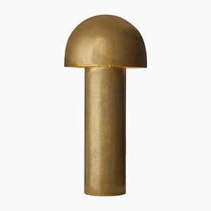Monolith Silvered Brass Sculpted Table Lamp by Paul Matter