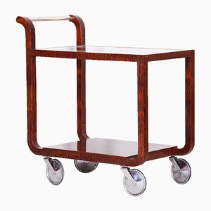 French Art Deco Glass Bubinga Trolley, 1920s