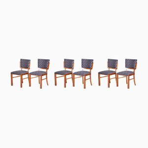 French Art Deco Walnut Dining Chairs, 1930s, Set of 6