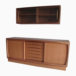 Danish Teak and Glass Sideboard and Cabinet Set from HP Hansen, 1970s