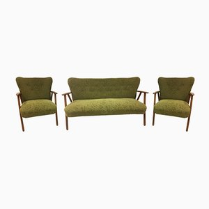 Mid-Century Danish Sofa and Armchairs Set from Fritz Hansen
