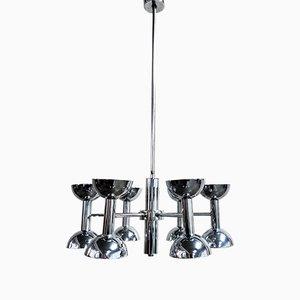 Lámpara de araña Diabolo vintage de metal cromado, años 60
