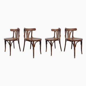 Vintage Wooden Bistro Chairs, 1950s, Set of 4