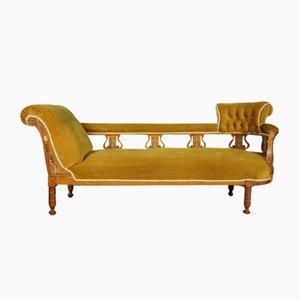 Antique Edwardian Mustard Yellow Chaise Lounge