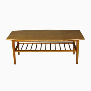 Teak Coffee Table with Magazine Rack, 1960s