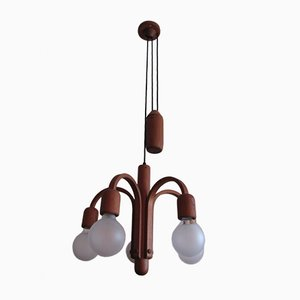 Danish Teak Adjustable Ceiling Lamp, 1970s