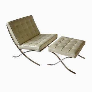 Barcelona Style White Leather Lounge Chair and Ottoman, 1980s