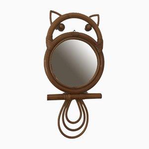 Vintage Rattan-Framed Owl Mirror