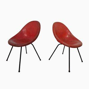 Französische Beistellstühle aus Fiberglas, 1960er, 2er Set