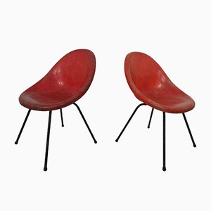 French Fiberglass Side Chairs, 1960s, Set of 2