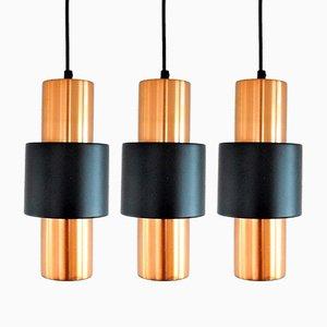 Lámparas colgantes de cobre y metal negro de Hiemstra Evolux, años 60. Juego de 3