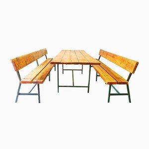Französische Vintage Bänke & Tisch Set, 1960er