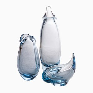 Dänische Composition Vasen von Per Lutken für Holmegaard, 1970er, 3er Set