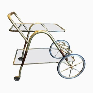 Mid-Century Italian Brass and Wood Trolley by Cesare Lacca, 1950s