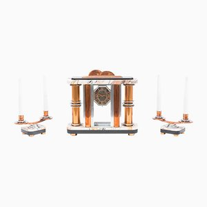 French Art Deco Clock and Candleholders, 1930s, Set of 3