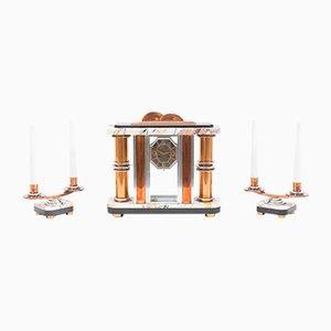 Reloj francés Art Déco y candelabros, años 30. Juego de 3