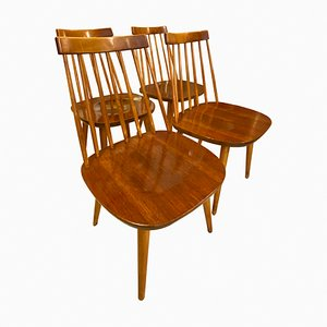 Mid-Century Swedish Pinocchio Dining Chairs by Yngve Ekström for Stolab, Set of 4